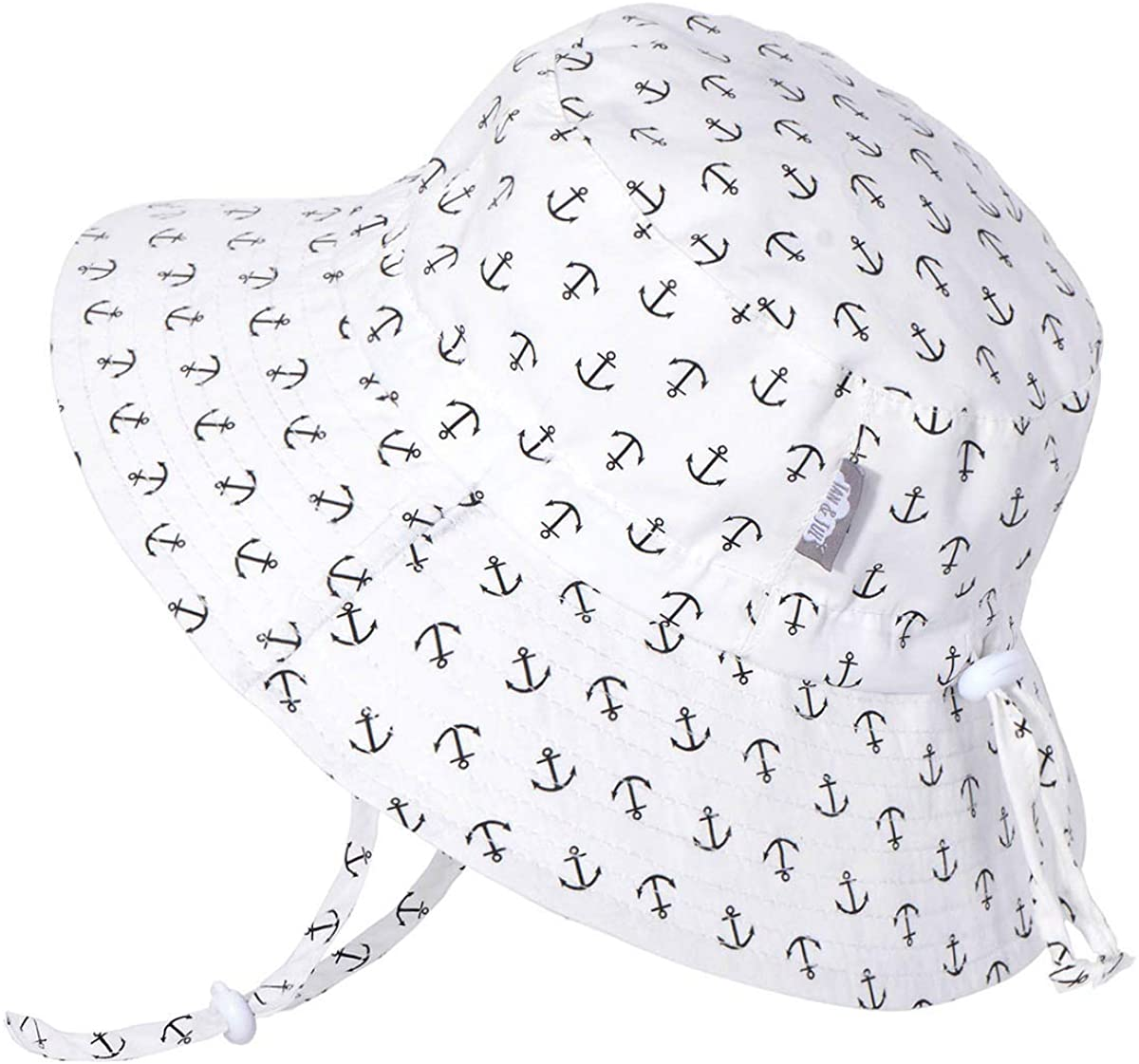 JAN & JUL Toddler Sun Hat with UV Protection, Stay-on Strap (M: 6-24 months, Anchor)