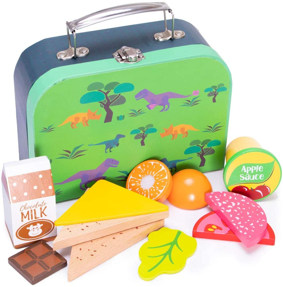 Deluxe Wooden Dinosaur Themed Lunch Box Pretend Play Set - 12 Pieces!