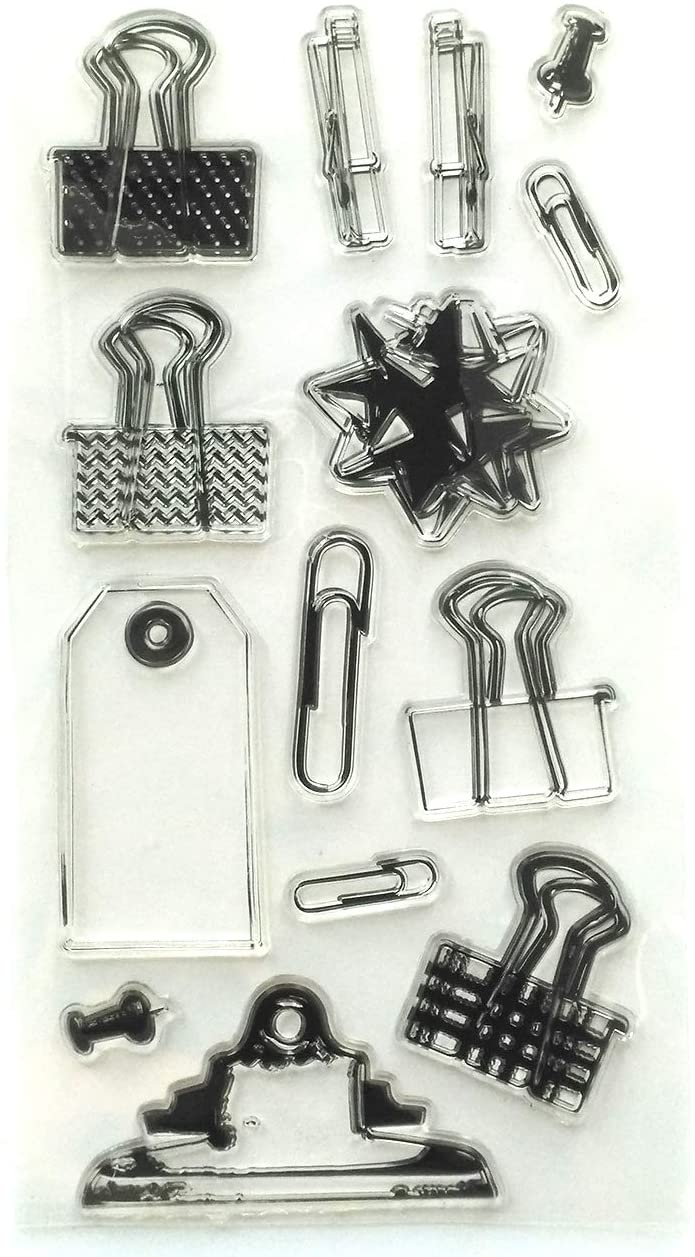 MaGuo Stationery Clear Stamps Paper Clips for Paper Craft DIY Scrapbooking