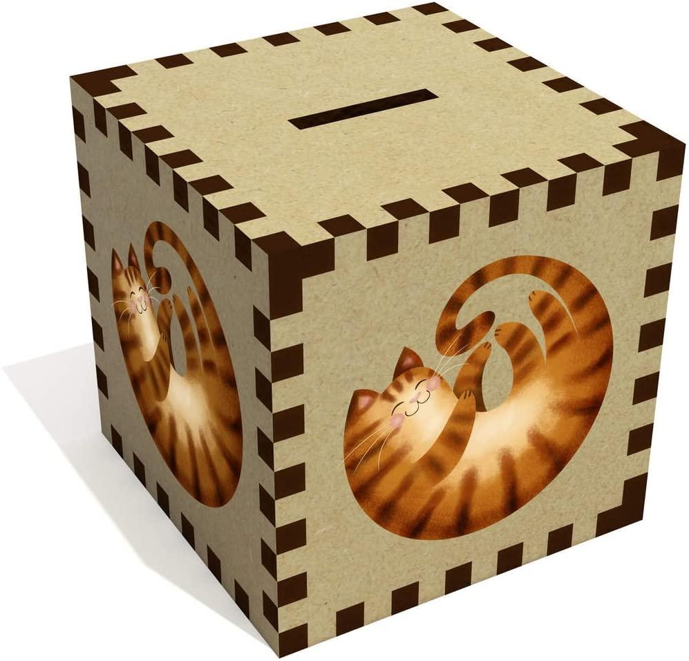 Azeeda 'Curled Up Ginger Cat' Money Box / Piggy Bank (MB00069161)