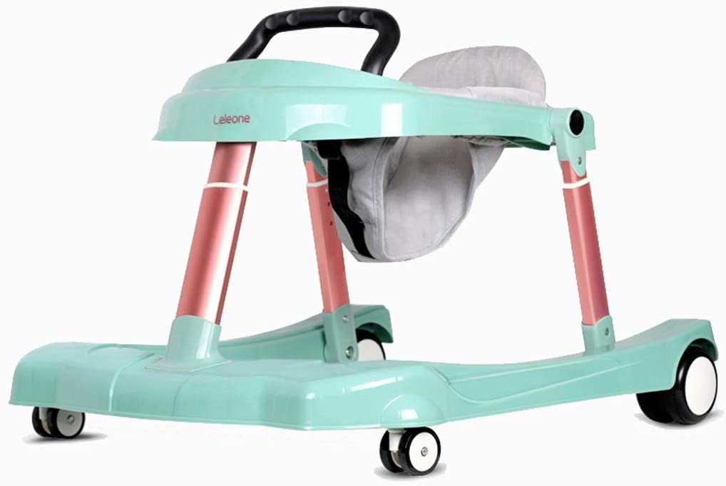 Baby Walker, U-Shaped Multi-Function Anti-Rollover Can Sit and Push Boy Girl Baby Folding Height-Adjustable for 6-24 Months Maximum Load 30 Kg (Color : Green)