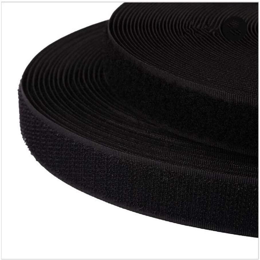 PENGHU FDBB 2cm 2Meters Pair Colorful Sticker Hook Loop Fastener Adhesive Tape Nylon Button Cable Ties Sewing Garment Bags Accessory (Color : Black)
