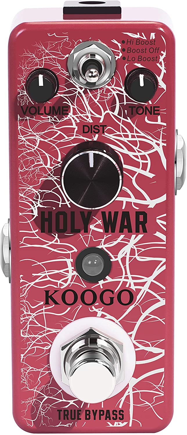 Koogo Heavy Metal Distortion Pedal Holy War Effect Pedals for Electronic Guitar Bass with 3 Modes Hi Boost/Low Boost/Boost Off True Bypass