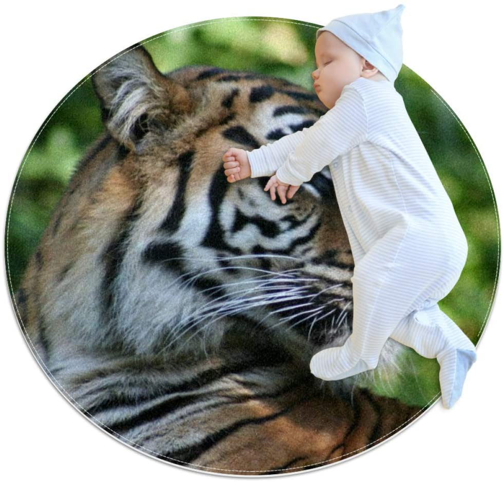 King of Tiger Animals Baby Crawling playmat mat Round Area Rug Home Decorative Carpet Soft and Washable Pad Non-Slip for Kid's Toddler Infants Room 2feet 3.5inch