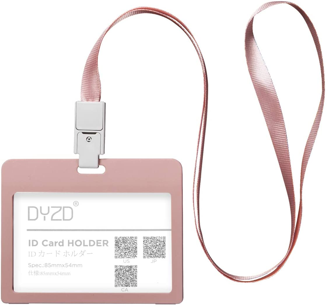DYZD Plastic Badge Holder ID Card Holders Flip Card Structure ID Holder with Necklace Lanyards ID Badge Card Holder Pack of 6 (Bean Powder,Style 1)