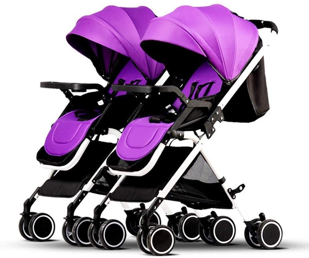 ZDMSEJ 2 Ultra-Lightweight Double Strollers, Compact, Self-Standing Folding Design, Shopping Basket Single-Child Mode, Seatback Storage Pocket, Detachable Ultra Light Shock Tandem Toddler Trolley