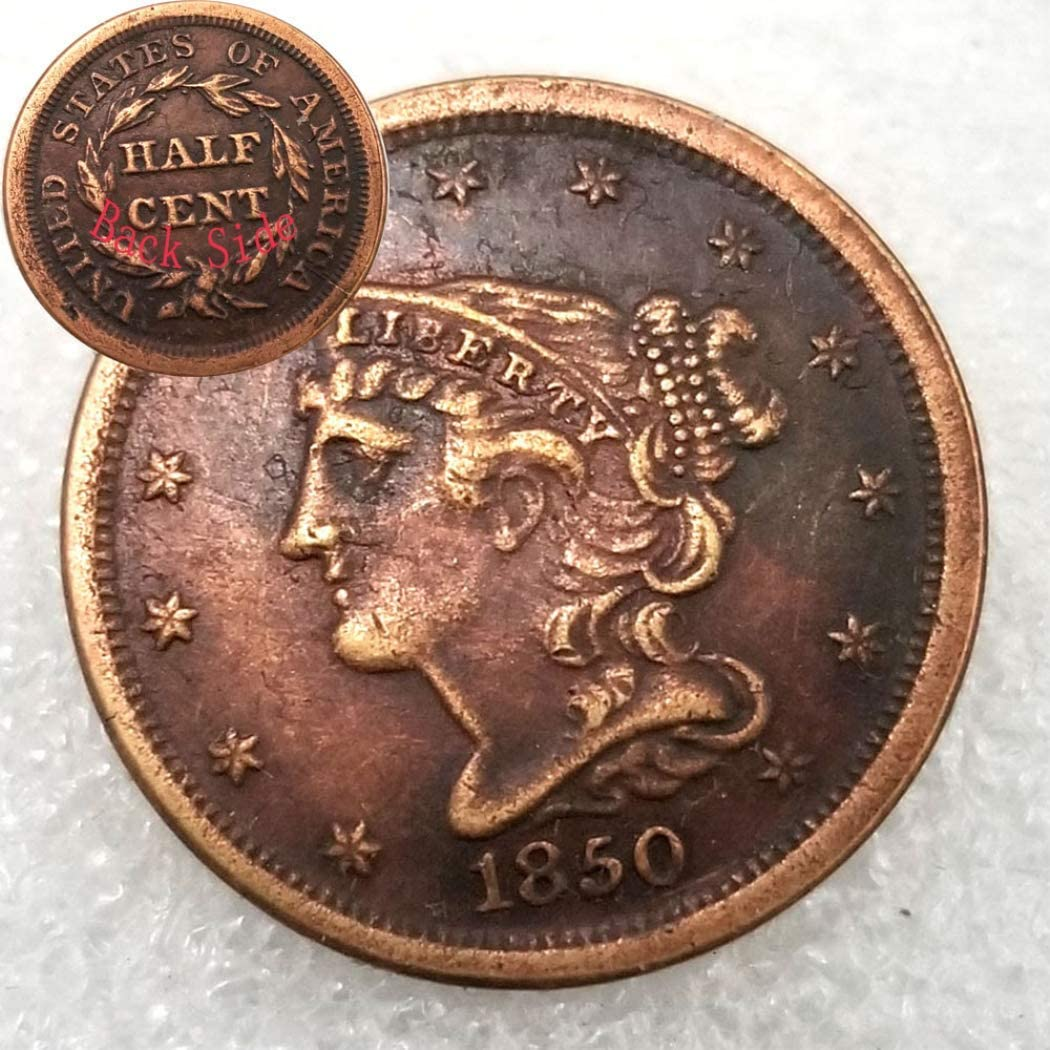 Jearls Antique Liberty  Old Coin-1850 US Hobo Nickel Half-Cent Replica Morgan Dollar Coin- American Commemorative Coin Gift for Dad/Friend/Husband KmKaiTing Hobby