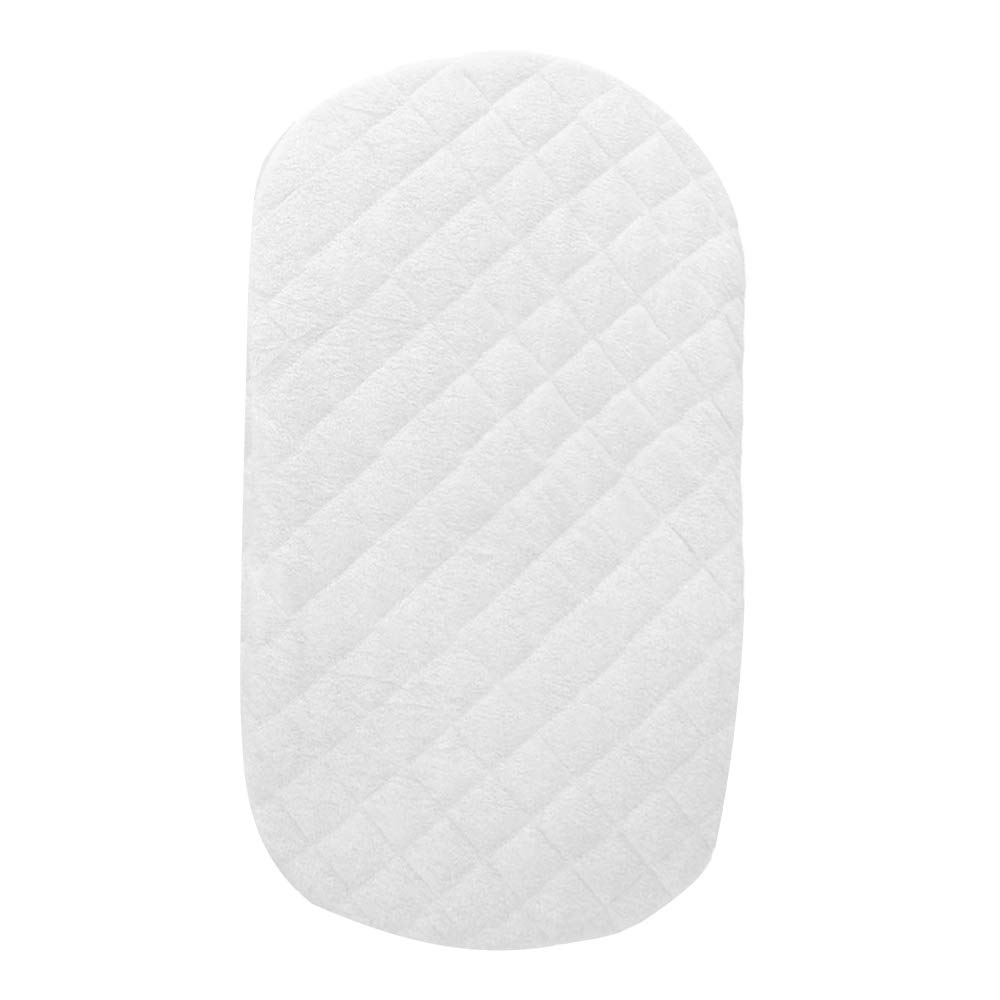 Bamuho Waterproof Halo Bassinet Mattress Pad Cover/Protector Fit Hourglass Swivel Sleeper Mattress Pad, Comfortable and Soft Bamboo Fabric,White