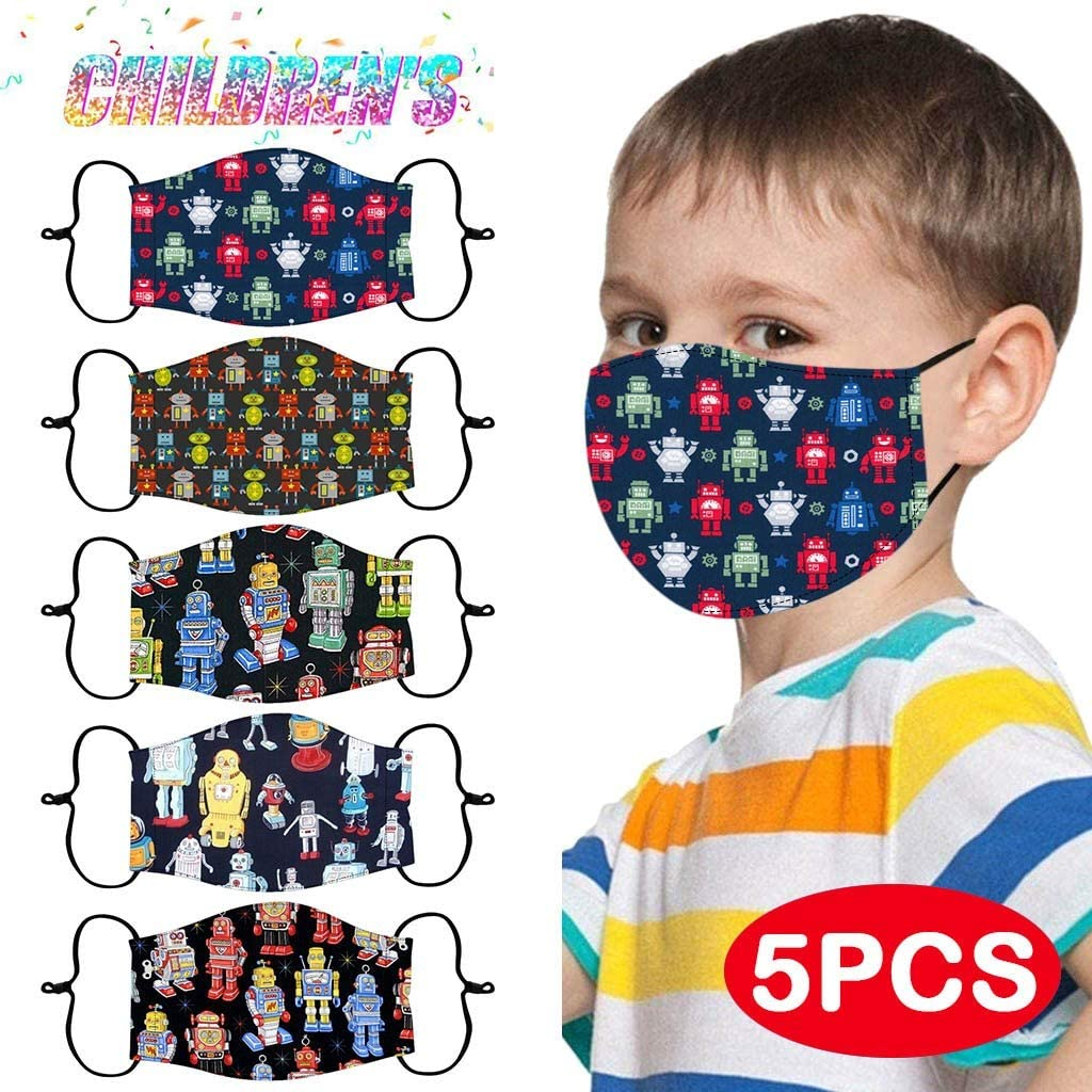 YLLQXI Fast Delivery 5 Pack Cloth Face Mouth Bandanas Kids Child Children Reusable Breathable Washable Comfortable Safety for Outdoor Sport Dust Protection