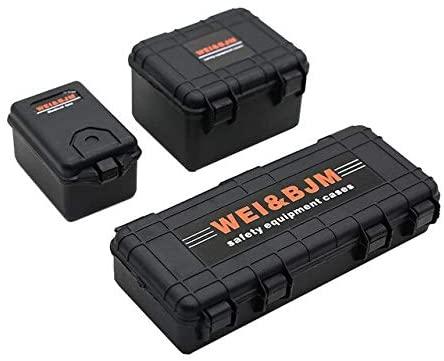 Parts & Accessories TRX4 SCX10 Model Decoration Mini Case Rock Crawler 90046 Suitcase Roof Gift Simulation Luggage 1/10 RC Car Parts Openable - (Color: Black, CN)
