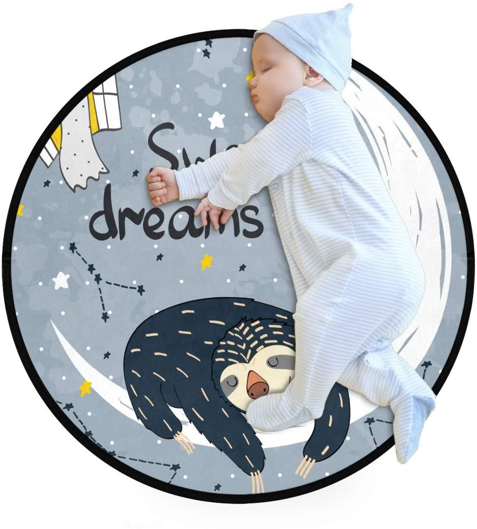 Grey Sweet Dreams Sloth Moon Stars Kids Round Rug Baby Crawling Non-Slip Mats Child Activity Play Mat for Bedroom Playroom Home Decor (Diameter 31.5