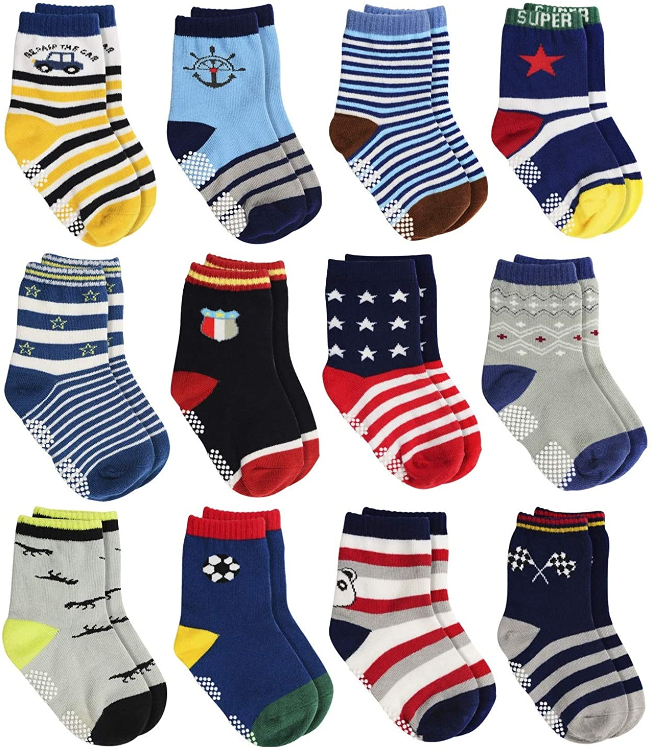 LAISOR Anti Slip Cotton Crew Socks with Grips For Kids Toddlers Baby Boys