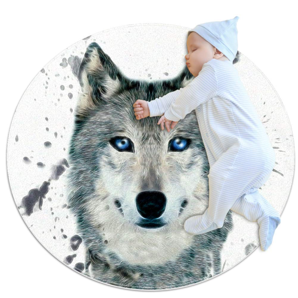 Watercolor Animal Wolf Baby playmat Crawling mat Round Area Rug Home Decorative Carpet Soft and Washable Pad Non-Slip for Kid's Toddler Infants Room 2feet 3.5inch
