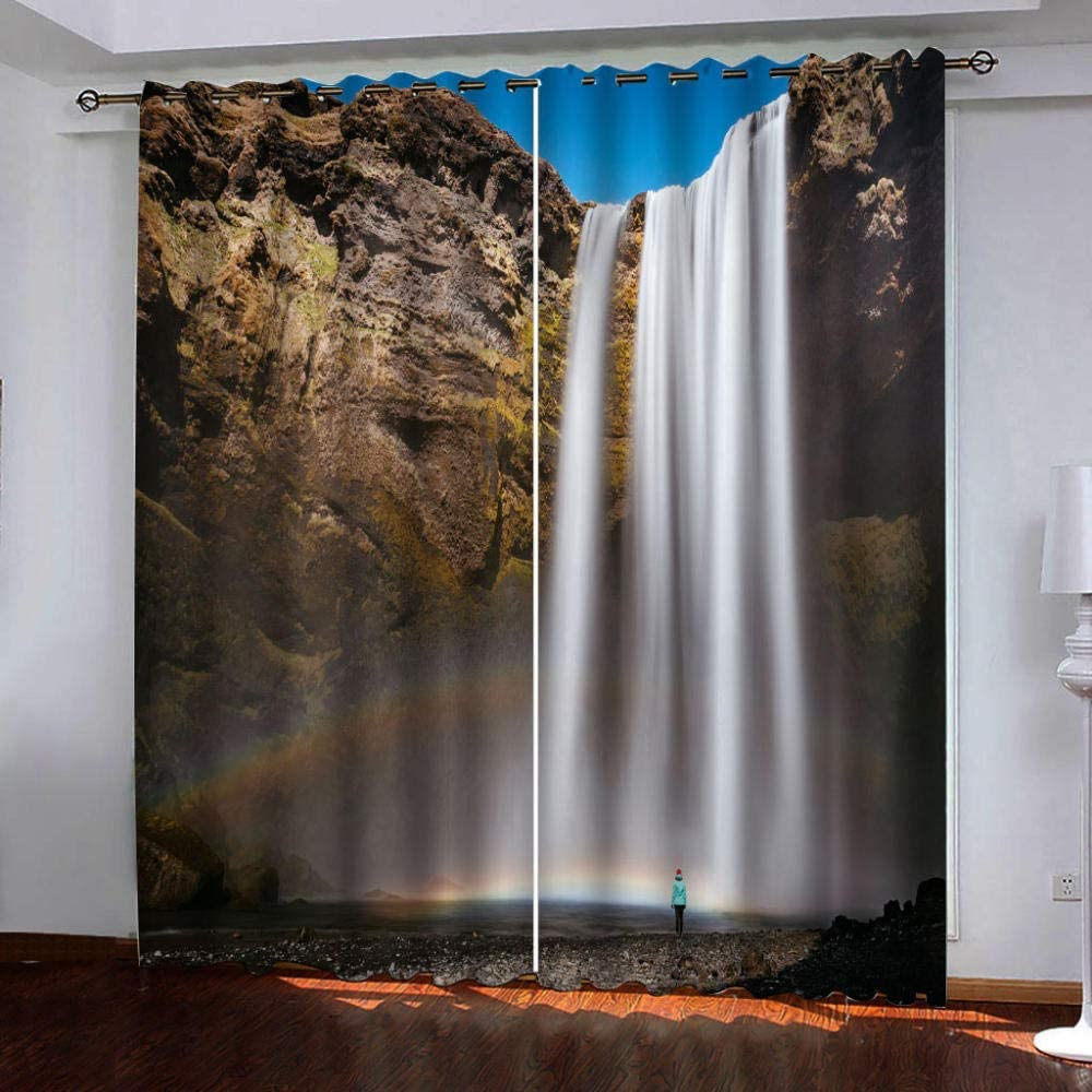 curtain Eyelet, Net for Bedroom River Water Meteor Blackout Thermal Insulated Eyelet for Livingroom Children's Room (Size : 66'' Width x 72'' Drop)