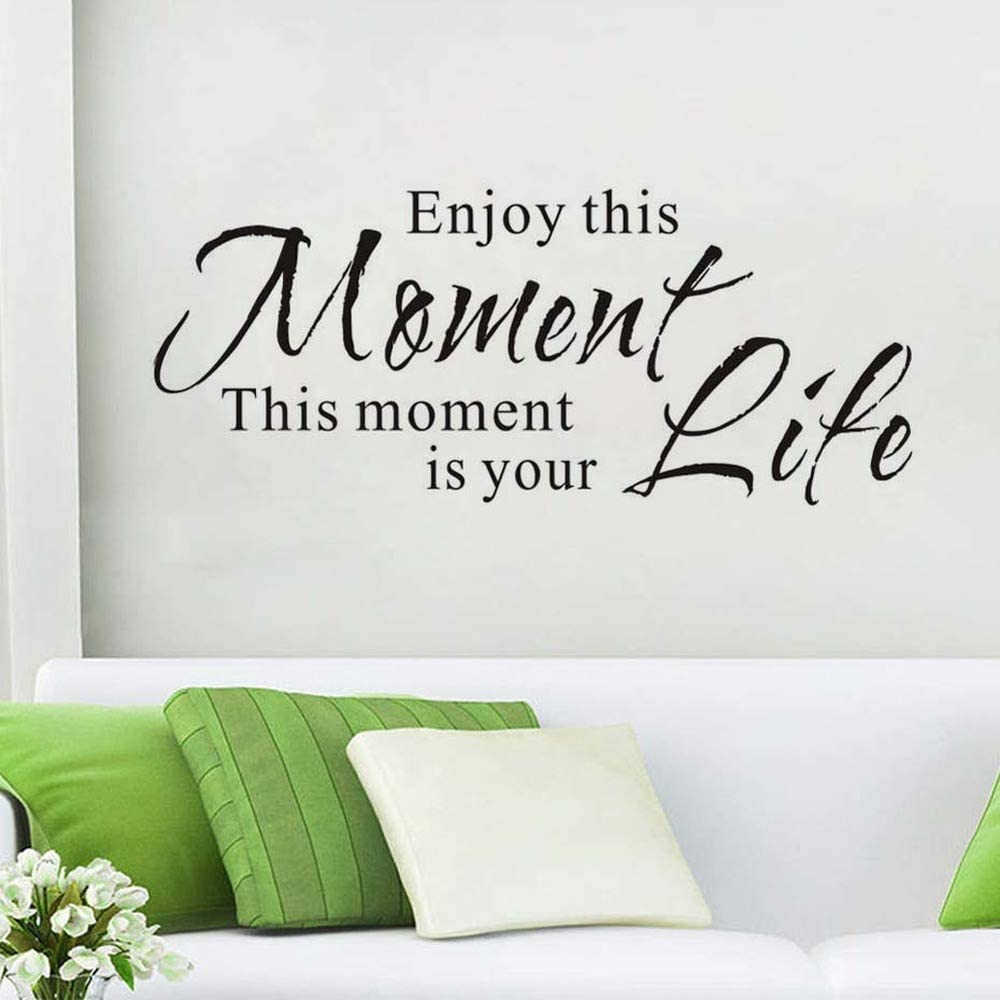 WOVTCP Enjoy This Moment Wall Quote Inspirational House Quotes Sticker Life Quote Living Room Removable Wall Decal Dining Room Vinyl Mural Home Decor