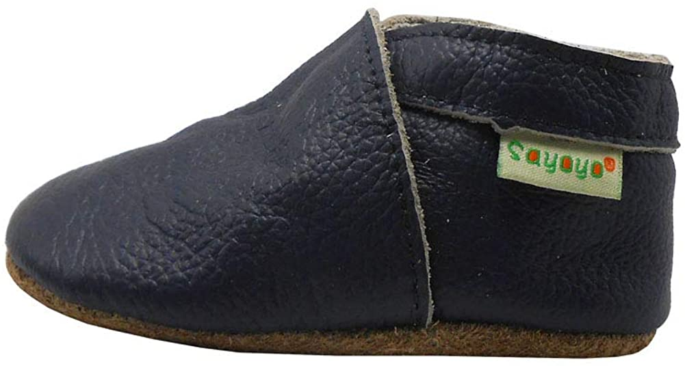 SAYOYO Baby Shoes Soft Leather Sole Infant Shoes Toddler Prewalker Shoes Navy Blue