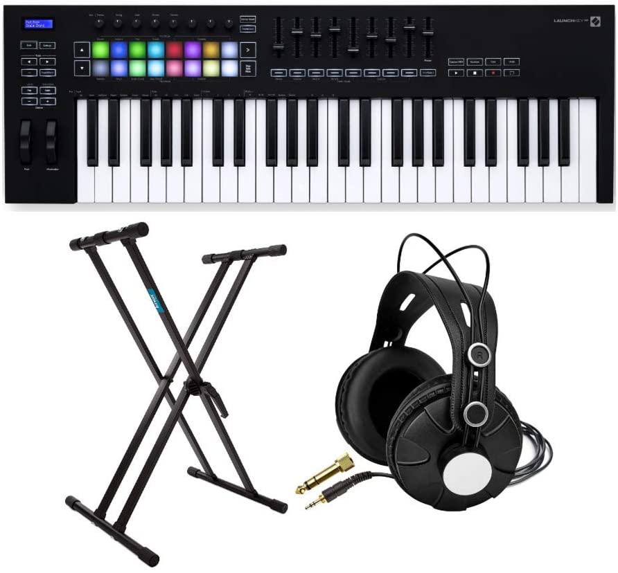Novation Launchkey MK3 49-Key USB MIDI Keyboard Controller Bundle with Knox Studio Headphones and Keyboard Stand (3 Items)