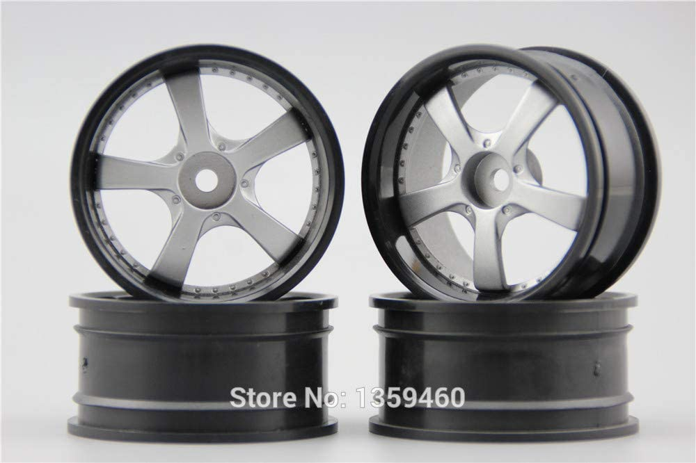 Parts & Accessories 4pcs 1/10 Touring&Drift Wheel Rim W5S2S(Painting Silver) 4mm Offset fits for 1:10 Touring&Drift Car 1/10 Rim 10258