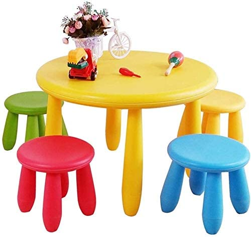 HWZQHJY Kids Plastic Table and 4 Chairs Set, Bright Colors