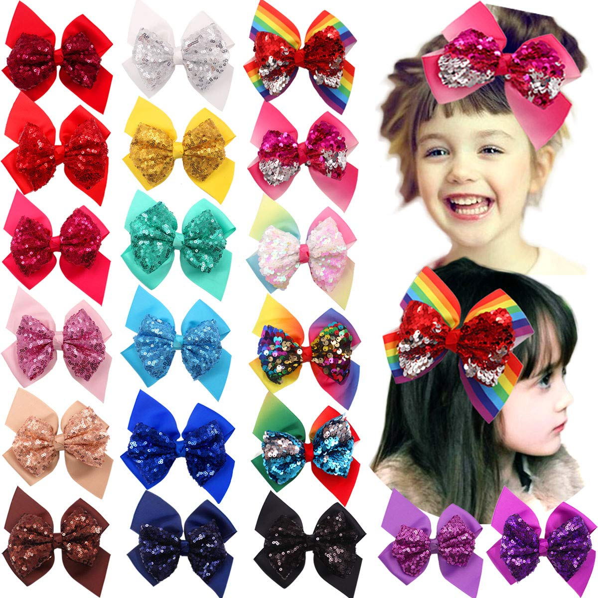 20 Colors New Girls Bling Big Party Bows Fashion 6 Inches Hair Bows Alligator Hair Clips for Baby Girls Toddlers and Kids