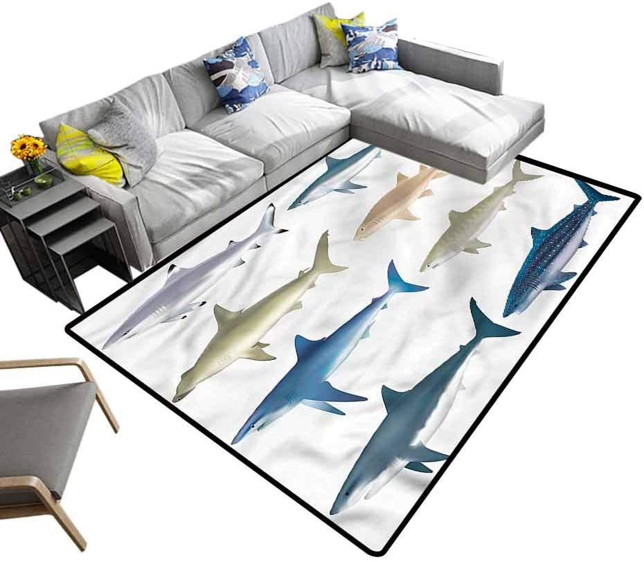 Shark, Nursery Rugs Types of Ocean Sea Mammals Baby Floor Playmats Crawling Mat for Children to Crawl and Play, 6.5'x 10'