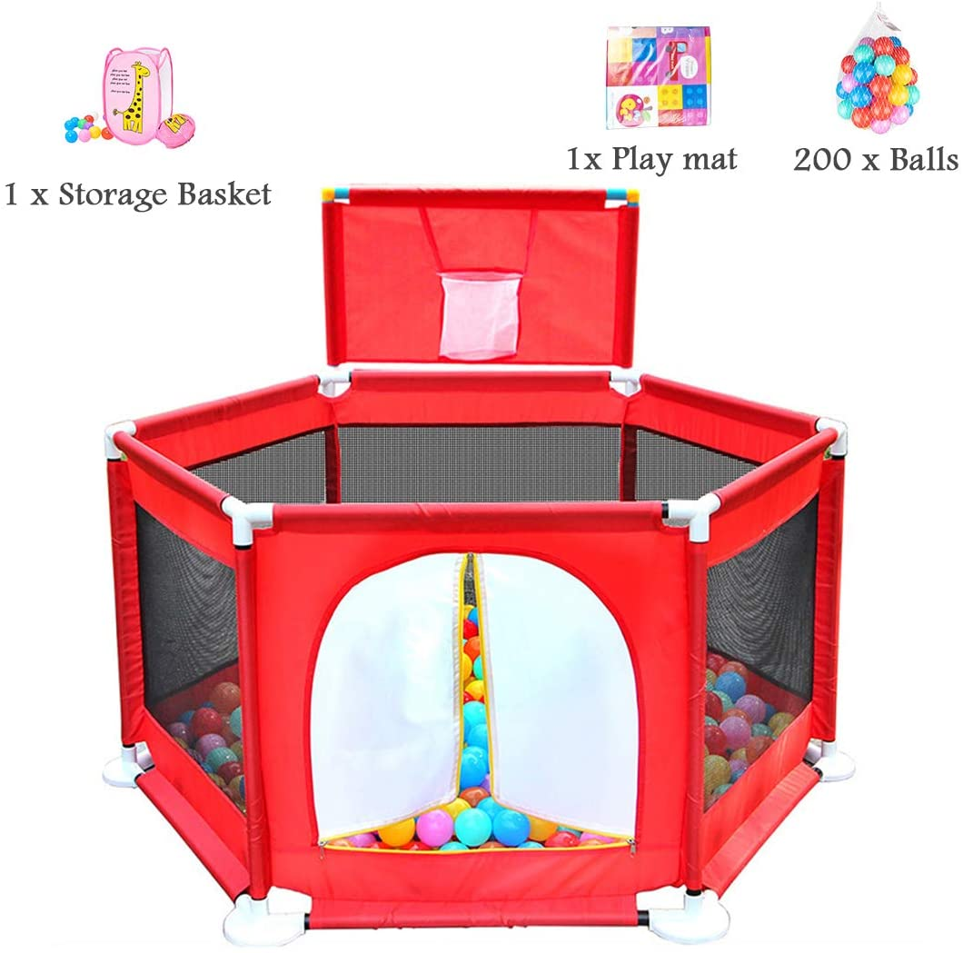 HGNA-Baby Toys Playards Ball Pool Toy Fence Indoor/Outdoor Crawling Family Room Divider Safety Playpen Activity Area Fence - with Storage Basket, Paly Mat, 200 Balls - 129x66cm - Red