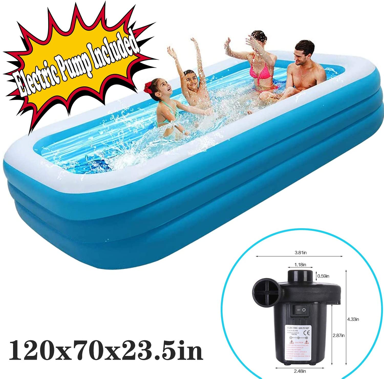 SwimmingPool AboveGround - Family Inflatable Swimming Pools 120x72x19.7in - Thickened Family Pool for Children Adults,Pvc Folding Durable Swim Center Inflatable Pool Bath Tubs Electric Pump/Included