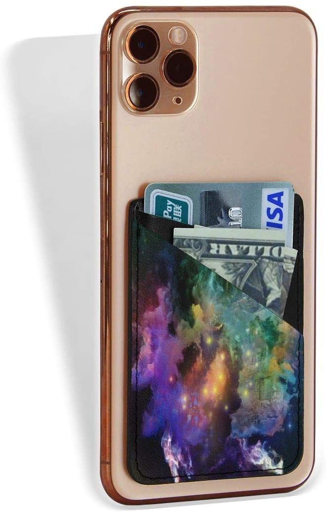 SLHFPX Back of Phone Credit Card Holder Marvellous Galaxy Milky Way Space Phone Pocket Stretchy Leather Stick On Id Card Wallet Cell Phone Case Pouch Sleeve Pocket for All Cellphone Smartphones