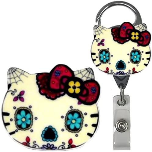 Candy Skull Kitty Inspired Symbol Real Charming Premium Decorative ID Badge Holder (Large Metal Carabiner)