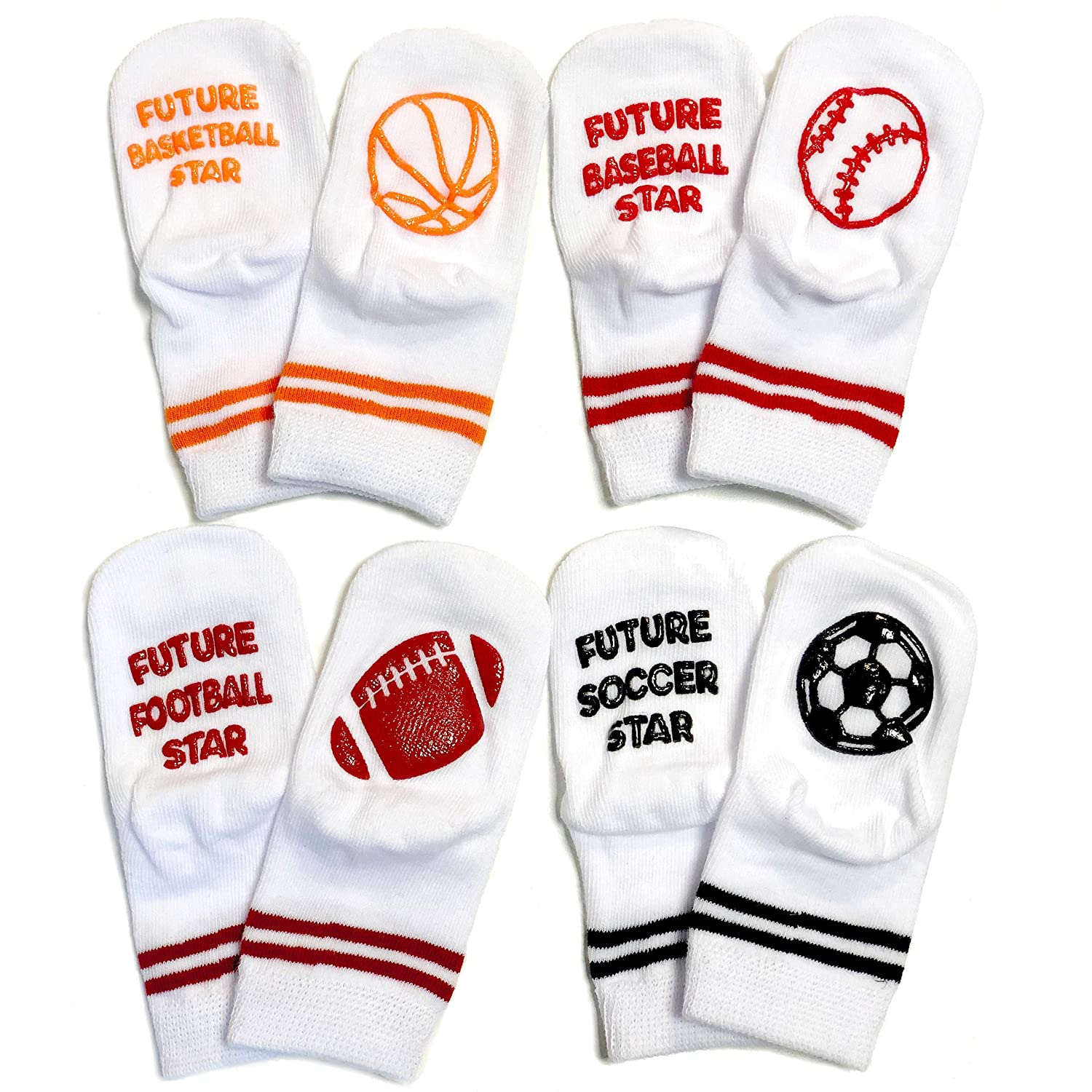 Baby Socks Gift Set - Unique Baby Shower or Newborn Gift - 4 Pairs of Cute Baby Future Sports Star Socks in Gift Box - Future - Football Star, Basketball Star, Soccer Star, Baseball Star