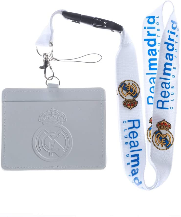 Real Madrid CF White Faux Leather Business ID Badge Card Holder with Keychain Lanyard