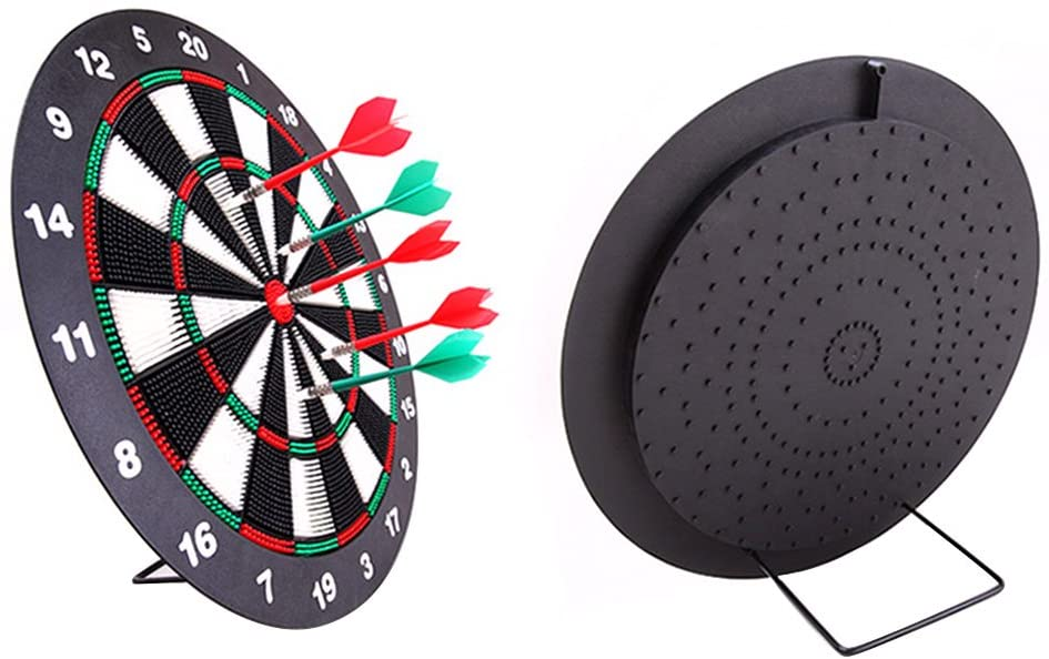 Safety Dart Board Set for Kids, 17 Inch Rubber Dart Board with 6 Soft Tip Darts for Children and Adults, Party, Office and Family Leisure Sport, Stand Included