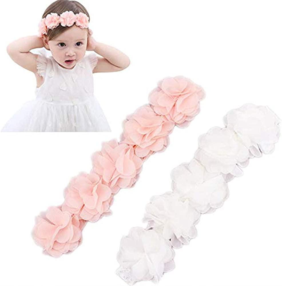 Baby Elastic Chiffon Flower Headbands Princess Girls Hand Sewing Beads Flower Headwear