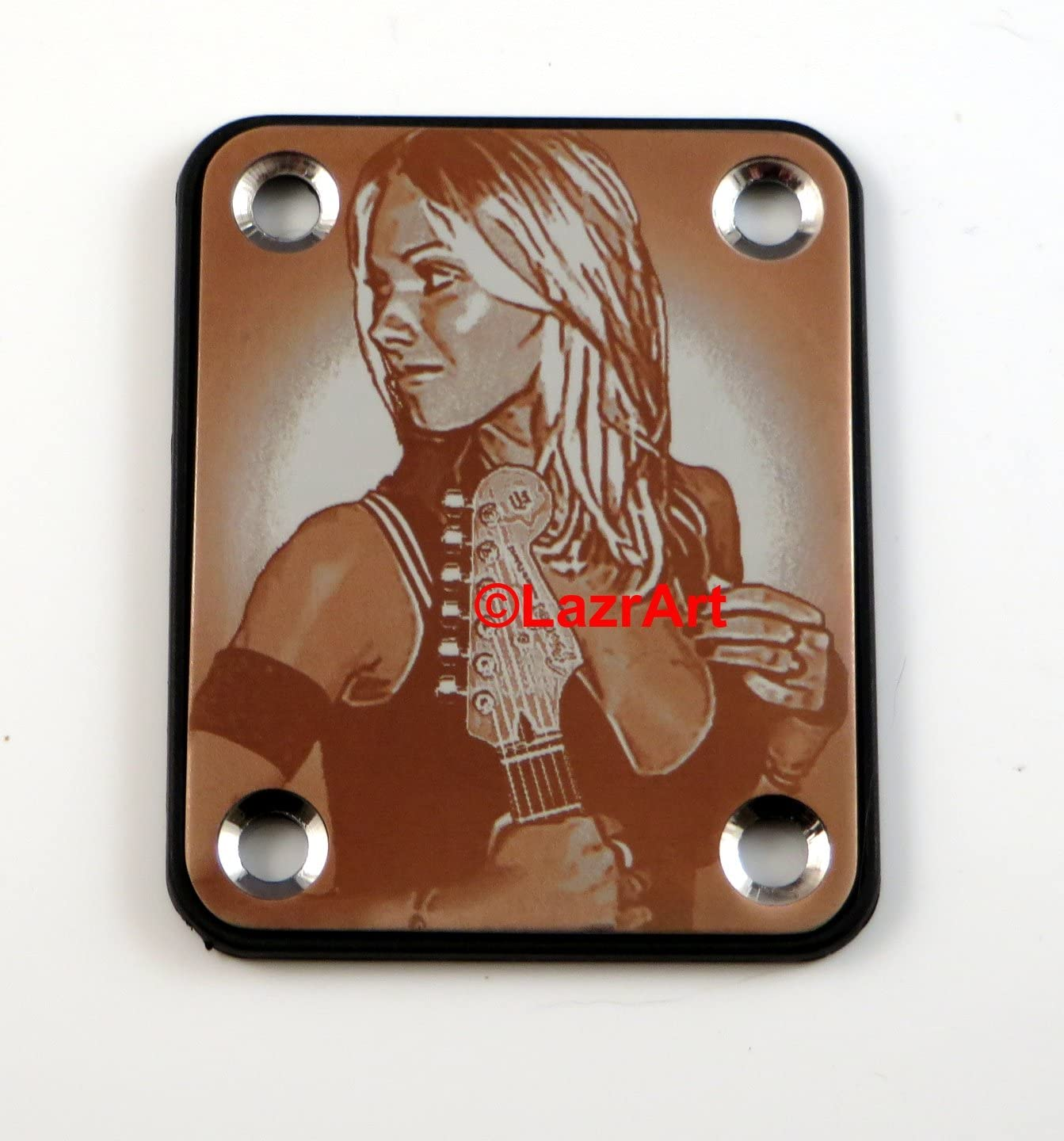 Laser Girl 626 - sexy, Standard 4 Bolt style, engraved guitar neck plate (Silver)