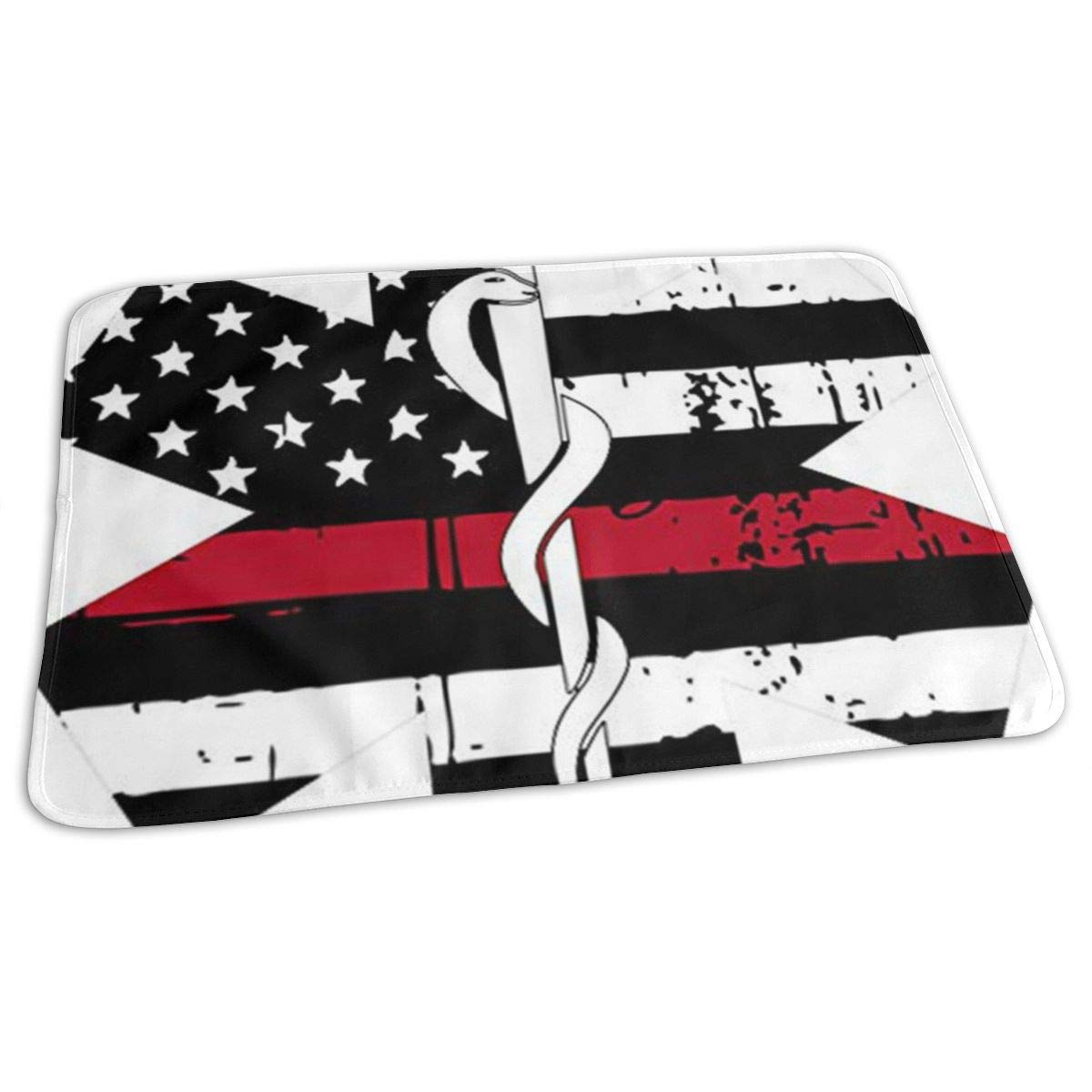 Star of Life Red Tattered Flag Baby Changing Pad Waterproof Portable Changing Pad Home Travel 27.5¡±x19.7¡±