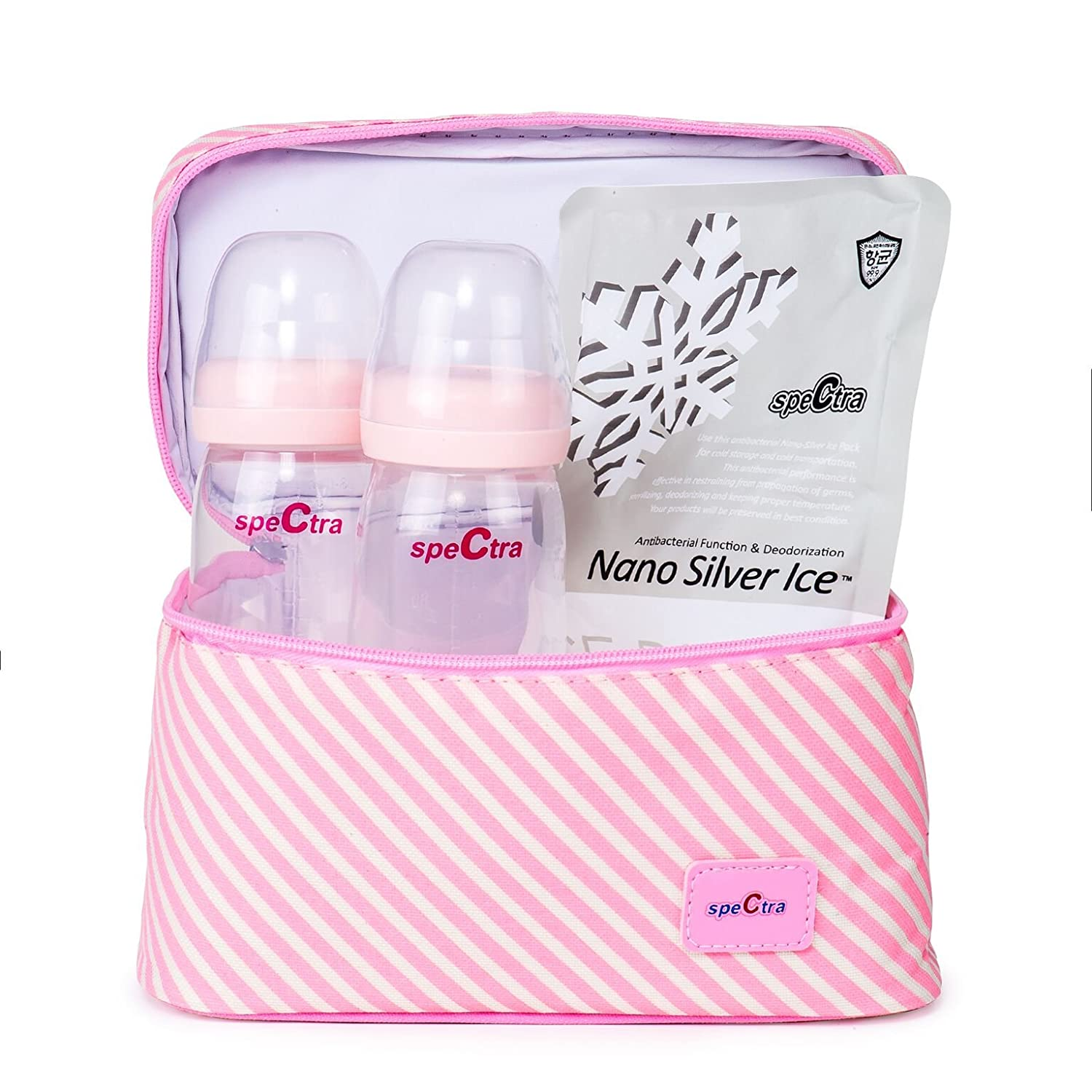 Spectra Baby USA - Pink Cooler Set with Ice Pack and 2 Bottles