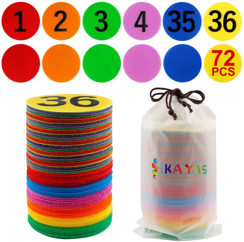 IKAYAS 72 Pcs Carpet Sit Spot Sitting Spot Carpet Spots, Number 1-36 and 36 Pcs Carpet Circles Dots Sitting Spots Circle Spots for Kids Classroom, 6 Colors