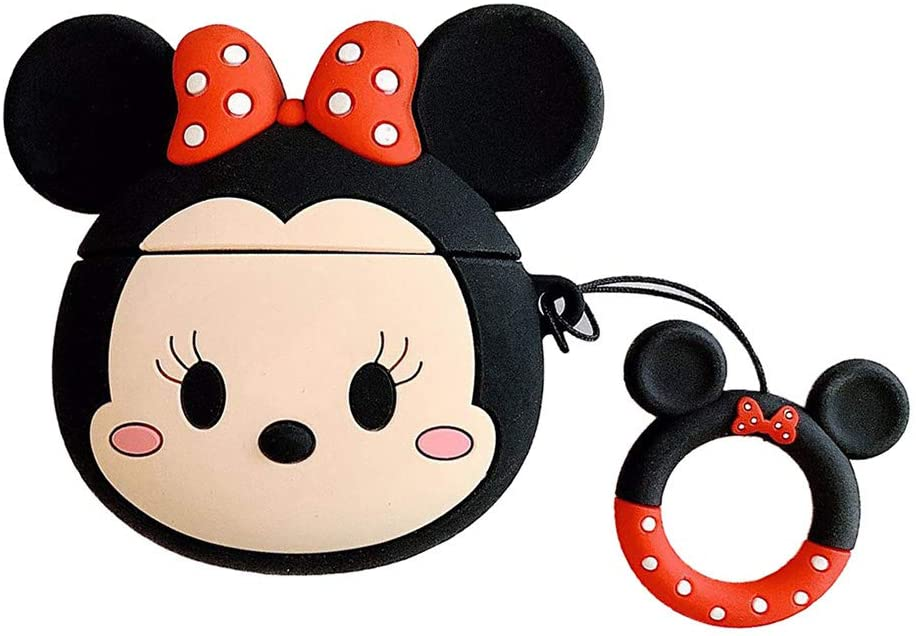 Airpods Case, 3D Cute Cartoon Airpods Cover Minnie Mouse Soft Silicone Rechargeable Headphone Cases,AirPods Case Protective Silicone Cover and Skin for Apple Airpods 1/2 Charging Case (Minine)