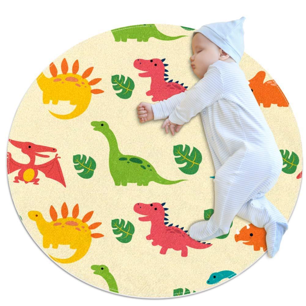 Nursery Area Rug Cute Cartoon Dinosaur (2) Play Mat Anti-Slip Baby Rug Soft for Baby Boys Girls 39.4x39.4in