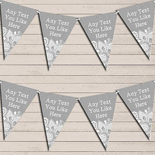 Silver Grey Burlap & Lace Wedding Day Married Bunting Garland Party Venue Decoration Party Flag Banner Garland