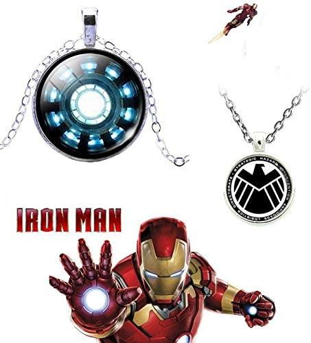 Tugend-Ära Latest Collecton Ironman ARC Reactor 3D Glass Dome Silver Pendant & 3D Glass Dome S.H.I.E.L.D Pendant