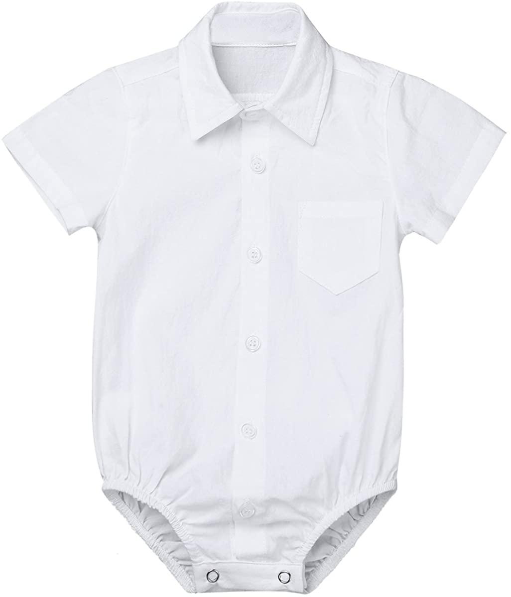 Kaerm Infant Boys Short Sleeves Formal Dress Shirt Bodysuit Gentleman Romper Wedding Party Outfits 3-24 Months