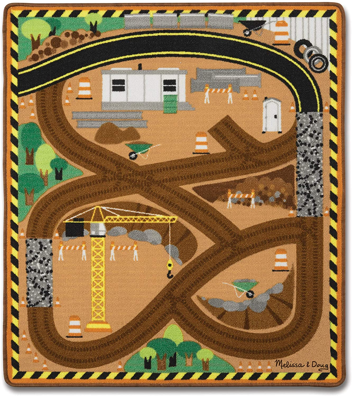 Melissa & Doug Round the Construction Zone Work Site Rug With 3 Wooden Trucks
