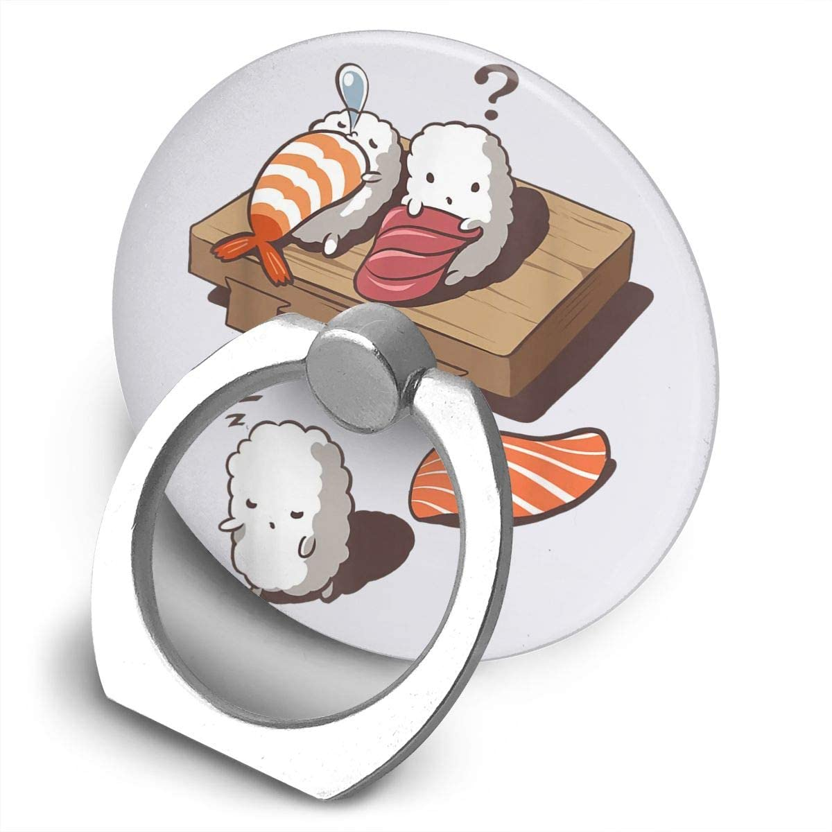 Tymeihao Funny Sleep Walking Sushi Alloy Mobile Phone Ring Bracket,360 Degree Rotating Ring Stand Grip Mounts