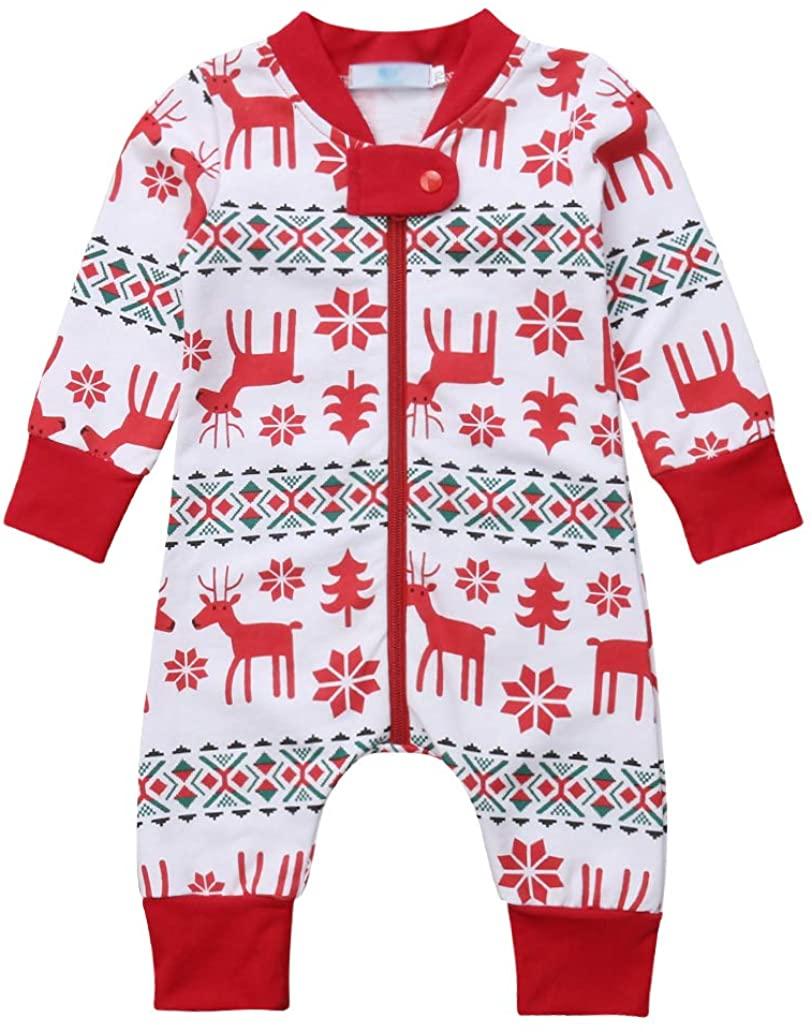 Bowanadacles Newborn Baby Girls Boys Christmas Pajamas Infant Toddler Long Sleeve Jumpsuit Romper Reindeer Print
