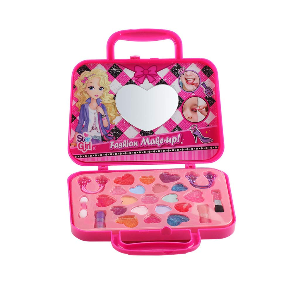 Washable Kids Makeup Kit For Girl, Not-toxic Little Girl Makeup Set Cosmetic Bag-pink