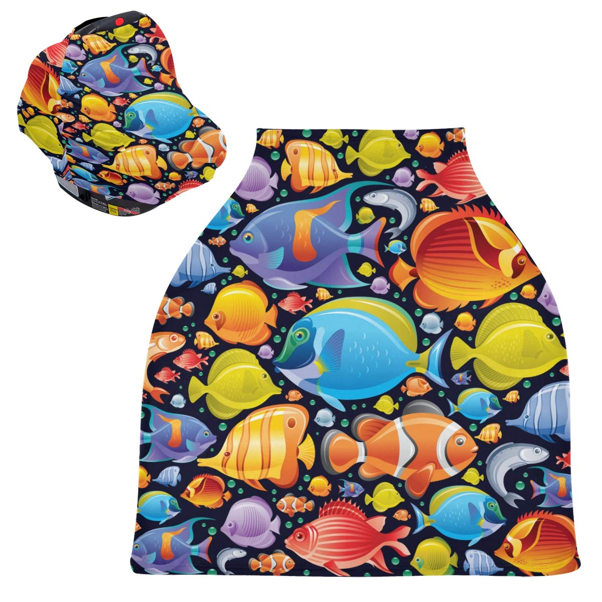 Stretchy Baby Car Seat Canopy - Underwater Diving Animal Tropical Fish Infant Stroller Cover Multi Use Baby Carseat Cover Nursing Cover for Shopping Cart