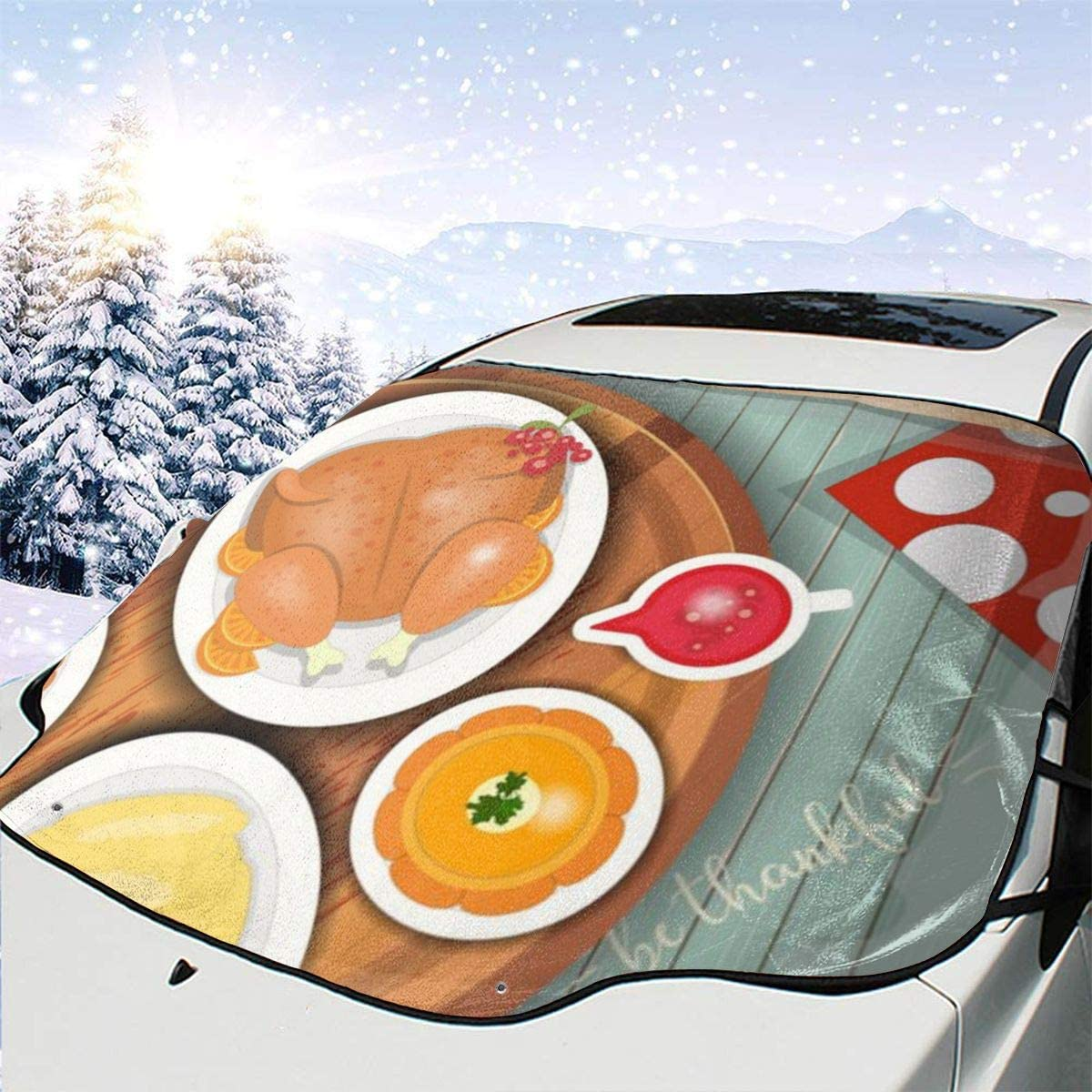THONFIRE Car Front Window Windshields Ice Sun Shade Thanksgiving Day Greet Dinner Cover Snow Proof Blocks UV Rays Keeps Your Vehicle Cool Visor Protector Trucks Autumn Heat Insulation