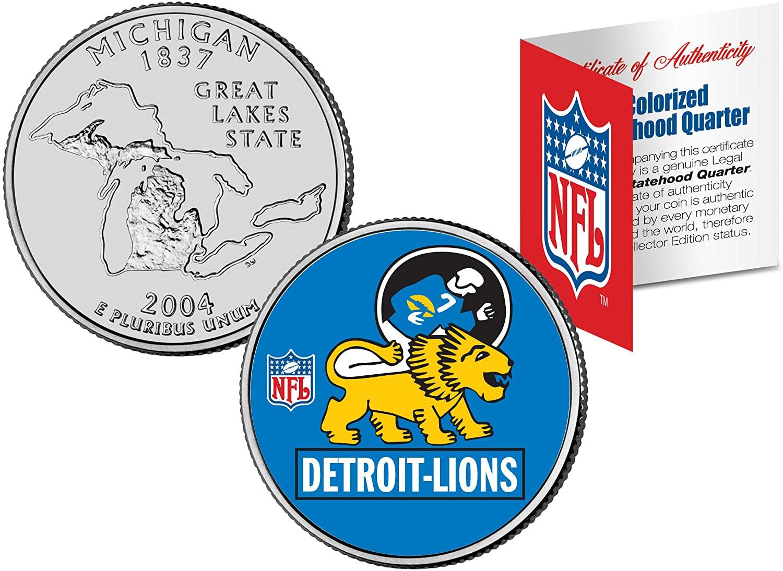 DETROIT LIONS Retro Logo Michigan Quarter Colorized Coin Football NFL LICENSED