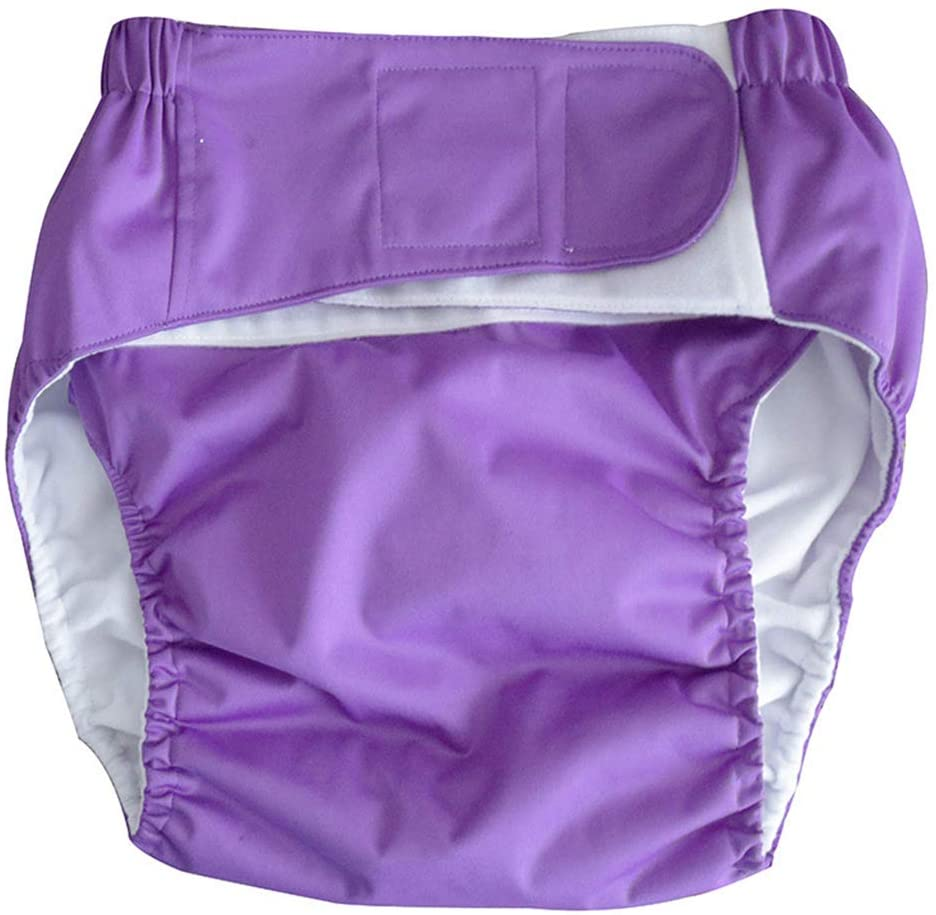 Adult Cloth Diaper Washable Overnight Leakfree Underwear Pants Adjustable Reusable Nappy for The Elder Incontinence Diaper,Deep Purple